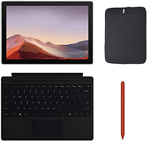 Newest Microsoft Surface Pro 7 12.3 Inch Touchscreen Tablet PC Bundle w/Type Cover, Pen & WOOV Sleeve, Intel 10th Gen Core i3, 4GB RAM, 128GB SSD, WiFi, Windows 10, Platinum (Latest Model)