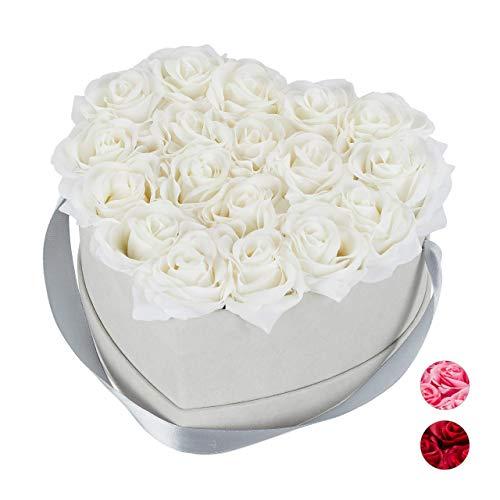 Relaxdays Rosenbox Herz, 18 Rosen, stabile Flowerbox grau, 10 Jahre haltbar, Geschenkidee, dekorative Blumenbox, weiß