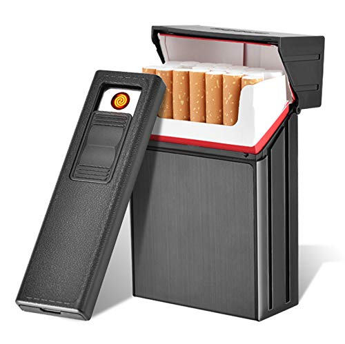 BNMY Zigarettenetui-Modul Mit Elektrischem Feuerzeug USB-Trennbar Wiederaufladbar Für Zigaretten Im Gesamtpaket 20 Stück King Size,Schwarz