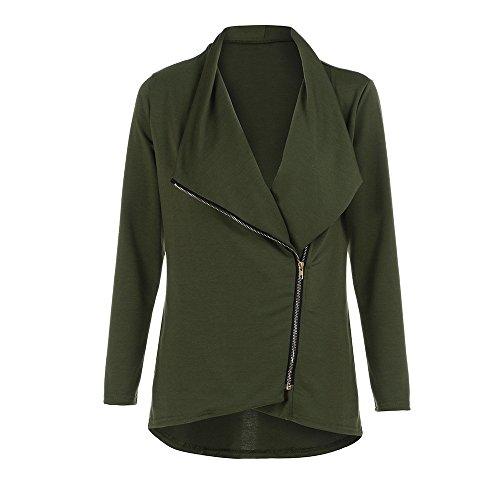 Damen Strickjacken, iHee 2017 Neuheiten Frauen Jacke Mantel schlank Blazer Fit Outwear Zipper Fashion Casual Parka (M, Grün)