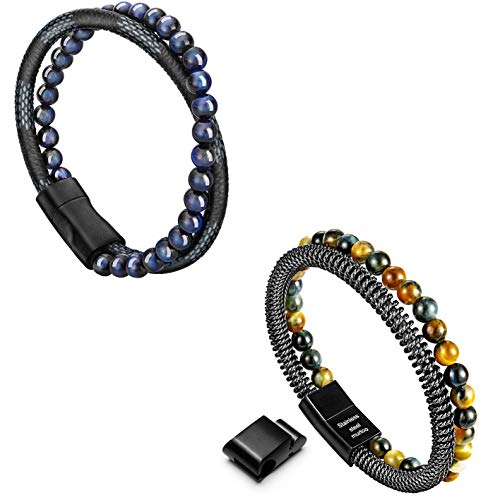 Murtoo Mens Bead Leather Bracelet and Bead Steel Chain Bracelet