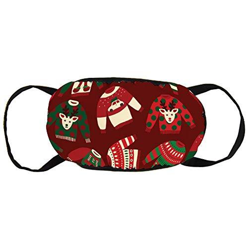 DKISEE Warm Comfortabel Katoen Gezichtsmasker Lelijke Trui Gift Wrap Anti-Stof Mond Masker Herbruikbaar Outdoor Beschermend Masker voor Fietsen Camping Reizen 9.0 x 4.7 inch