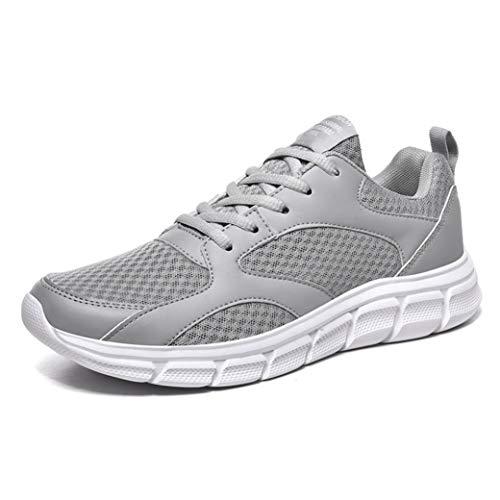 LangfengEU Chaussures de Sport pour Hommes d'été de Grande Taille en Plein air Jogging Formateur de Course Baskets décontractées Respirant Maille à Lacets Chaussures