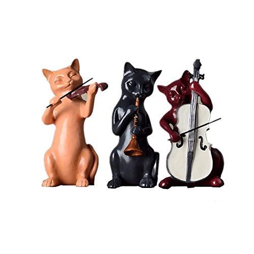 Escultura Estatua Decoraciones 3Pc / Set Resina Música Gatos Estatua Violín Escultura Músico Estatuilla Lindo Animal Ornamento Ventana Vitrina Gabinete Decoración Del Hogar, Conjunto De Estatua De
