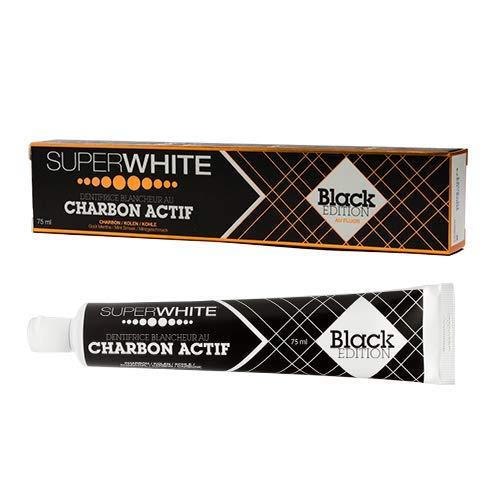 SUPERWHITE Dentifrice Blancheur au Charbon Actif Black Edition, 75 ml