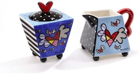 Romero Britto Creamer Max 84% OFF and High quality new Sugar Flying Heart Bowl Set