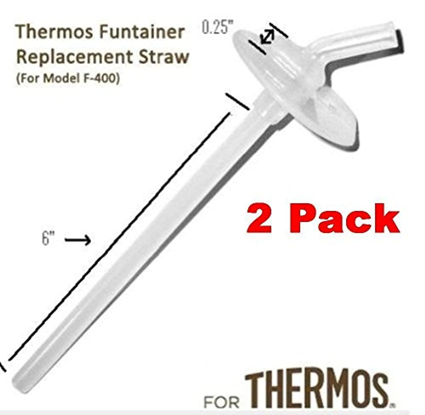 Thermos Funtainer Beverage Bottle Replacement Straw (2-PACK) For F400 Cap (Read Carefully)