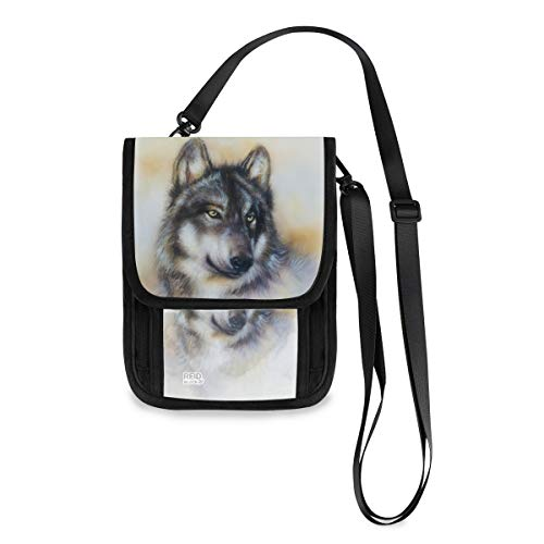 ALAZA Wolf Print Wild Animal Painting Small Crossbody Wallet Purse Cell Phone Bag RFID Passport Holder with Credit Card Slots
