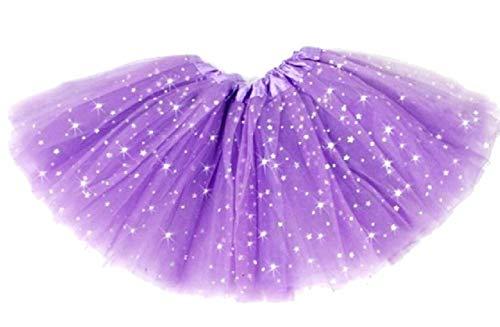 Falda de tul para niña, color morado, falda tutú con purpurina de 2 capas, apta para baile o carnaval y disfraz (talla única) de 2 a 8 años
