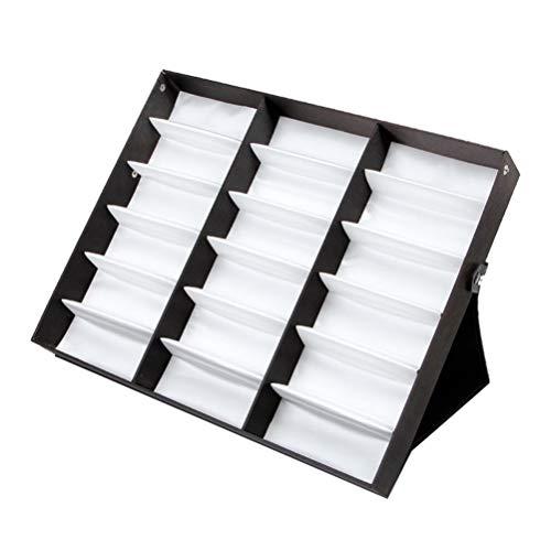 BESPORTBLE 18 Raster Sonnenbrillen Display Box Brillen Organizer Case Stand Inhaber Brillen Brillen Box Sonnenbrillen Case mit Faltbarem Deckel (Weißes Futter/Schwarzer Deckel)