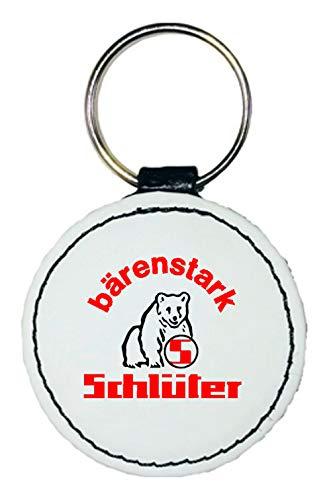 Leder Schlüsselanhänger   Schlüter Logo   rund   weiß