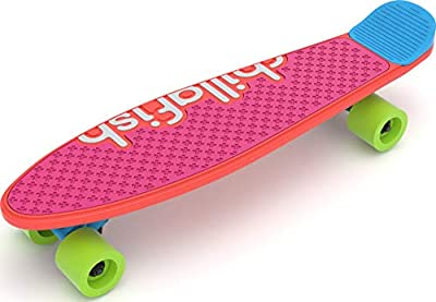 Chillafish Skatie and Skatieskootie, Customizable Training Skateboard with Detachable Stability Handle for A Lean to Steer Scooter, Multiple Deck & Fin Color Options