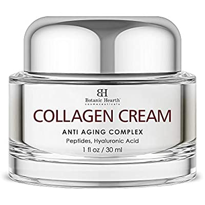Botanic Hearth Collagen Cream for Face - Anti Aging Complex Moisturizer - Firming Cream with Hyaluronic Acid & Peptides - Reduces Appearance of Wrinkles & Fine Lines - Day & Night Cream - 1 fl oz