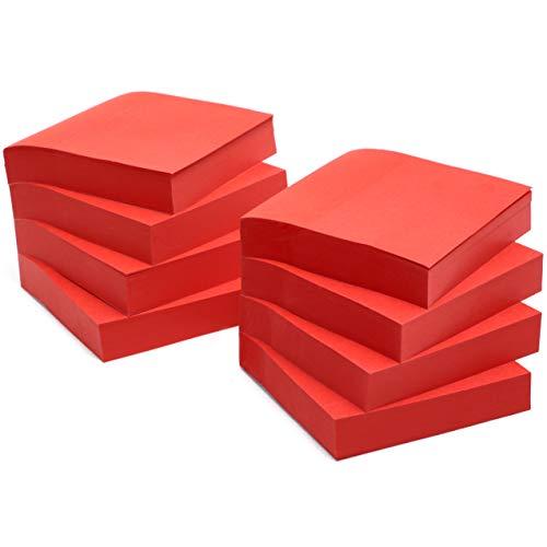 Juvale Haftnotizen (Set, 8 Blöcke) - 80 GSM, Recyclebar - Klebezettel, Selbstklebende Notizzettel, Memo Aufkleber - Praktisch für Büro, Schule und Alltag - Rot, 7,6 x 7,6 cm