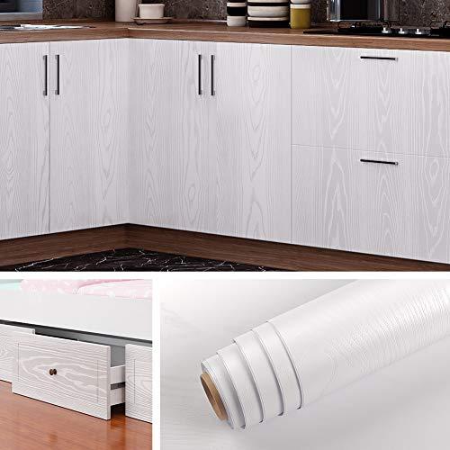 Livelynine Papier Adhésif pour Meuble Bois Blanc Épais Papier Peint Adhésif Bois Blanc pour Cuisine Salon Chambre Porte Table Papier Vinyle Autocollant Amovible Lavable Décoratif de 40CM*2M