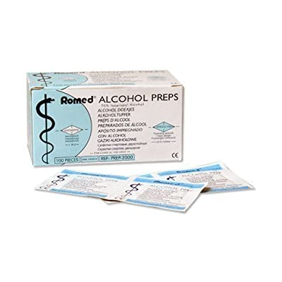 Alcohol Swabs 2-ply 65 x 30mm Swabs Alcohol 100 Piece by Romed