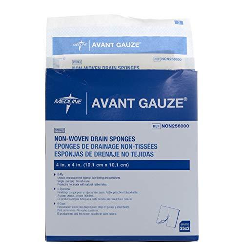 Medline Avant Gauze Sterile Drain Sponge NON256000, Pack of 2 Boxes, 100 Total