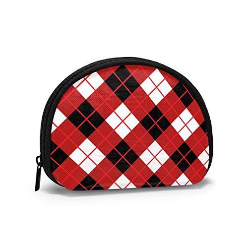 Rotes Argyle Harlekin Oxford Tuch Münzbörse Mini Shell Form Geldbörse mit Reißverschluss für Kreditkartenetuis Bargeld Tasche Schlüsseltasche 11,9 x 8,9 cm