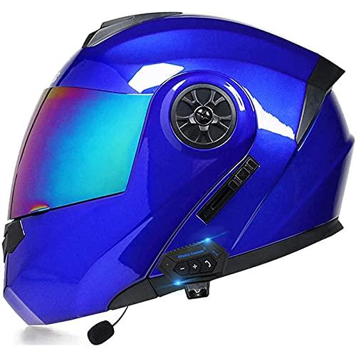 Casco de Moto Modular Bluetooth Integrado,Con Función de Respuesta Automática,Con Gafas de Protección Solar Dual,Cascos Masculinos y Femeninos,Certificación DOT/ECE A,L=59~60CM