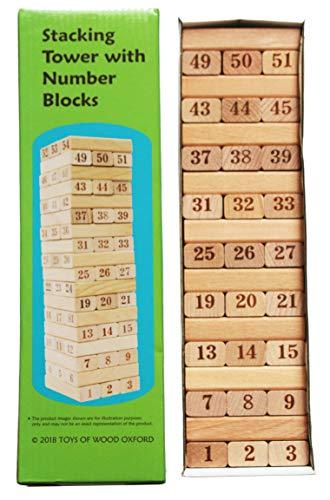 TOWO Juego de Torre de Madera - Torre apilable de Madera - Bloques de Numeros - Juego de Madera para niño y niña - Fichas de Construcion Madera - Domino Infantil - Torre de Aprendizaje