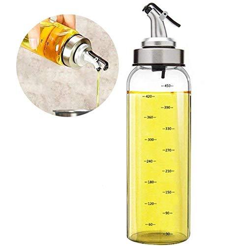 Marbrasse Olive Oil Dispenser Bottle, 17 Oz Vinegar Dispensing Cruets With Dripless Capped Spout, Liquid Condiment Container, Glass Decanter for Kitchen (17OZ)