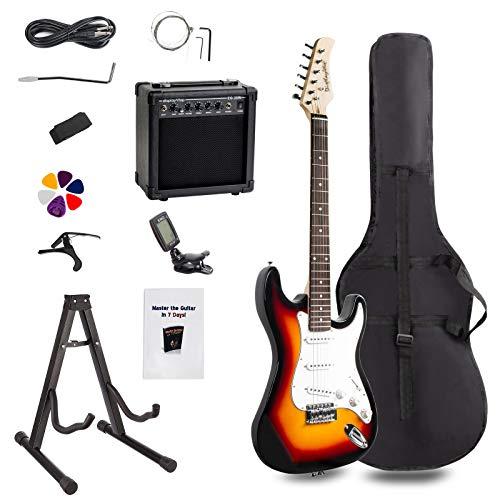 Display4top E-GITARRE Sets,mit 20 Watt Verstärker, Gitarrenständer, Tasche, Plektrum, Gurt, Ersatzsaiten, Tuner, Koffer und Kabel (Sunburst)