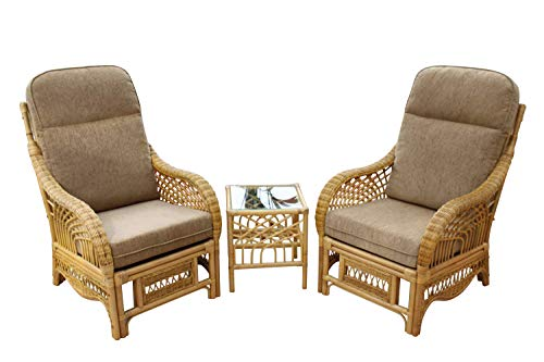 Garden Market Place Portofino Cane Conservatory Furniture Duo Set-2 Chairs and a Side Table-Coffee Colour Fabric, 119 X 80 X99
