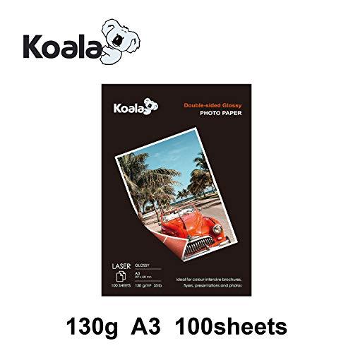 KOALA Papel Fotográfico Láser Brillante de Doble cara, A3, 130 g/m², 100 hojas, para impresoras LASER. Adecuado para imprimir Fotos, Portadas, Certificados, Folletos, Volantes, Tarjetas, Calendarios