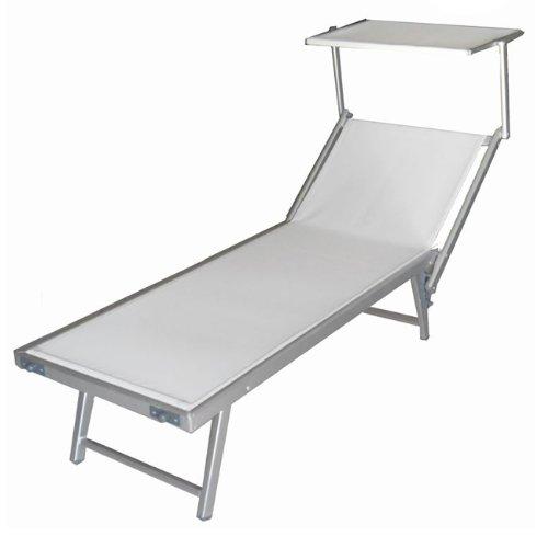 WEBMARKETPOINT Lettino da Spiaggia Regolabile Sdraio Prendisole in Alluminio Bianco