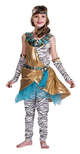 MOMBEBE COSLAND Disfraz Momia Niña Traje Egipcio Vestido Sin Mangas (Mummy, L)