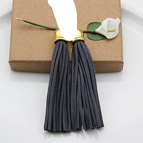 10pcs Borlas de Seda de Colores Fringe DIY Llavero Pendientes Charm Borla de Cuero Grande CCB Nuevos Accesorios de Moda 86mm-Color 12 como Foto