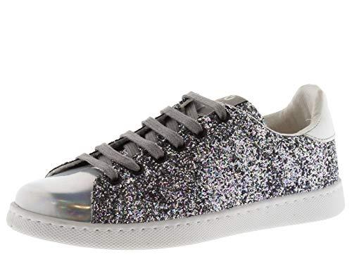 victoria 112558-WOMEN Tenis Sneaker Glitter Flatform Unisex Bambino Plata 41