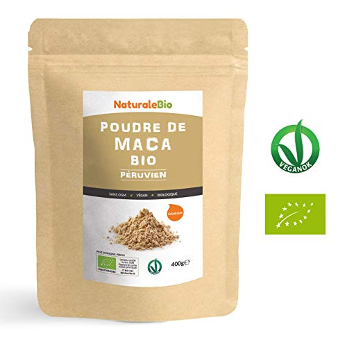 Maca Bio en Poudre [ Gélatinisée ] 400g | Organic Peruvian Maca Root Powder | 100% Biologique, Naturel et Pur, Produit au Perou de Racine de Maca Bio | NATURALEBIO