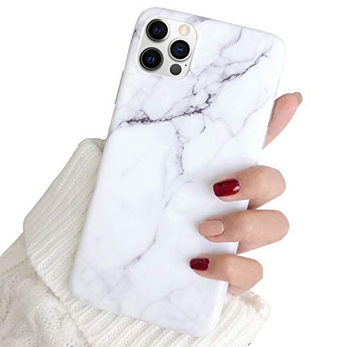 """Hapitek Compatible with iPhone 12 Pro Max Cute Cases for Girls Women Slim Soft Flexible TPU Marble Protective Case for iPhone 12 Pro Max 6.7"""" (White)"""