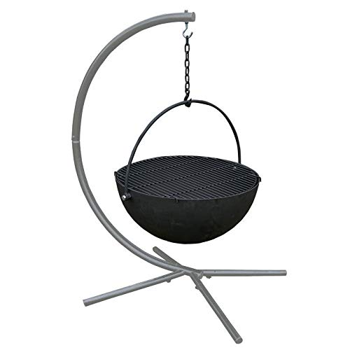 TITAN GREAT OUTDOORS 42-in Cauldron Fire Pit Bowl with Grate and Stand for Backyard Patio