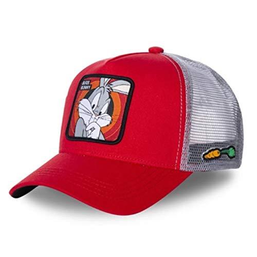 Gorra de béisbol de algodón Snapback Hombres y Mujeres, Gorra de Camionero de Malla de papá Hip Hop-Bugs Red