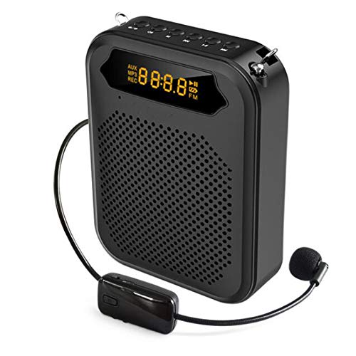 WJR Bluetooth Voice Amplifier, Portable Personal Voice Loudspeaker Wireless Microphones and Speakers with 1500Mah Rechargeable Battery, Support USB/TF Card/Aux,Black