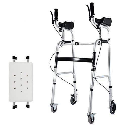 Andador Andadores para Ancianos Tarea Pesada Andador con Andador con Asiento y Soporte para Antebrazo Plegable Andador Vertical de Pie Móvil con Frenos y Ruedas para Personas Mayores Discapacitadas