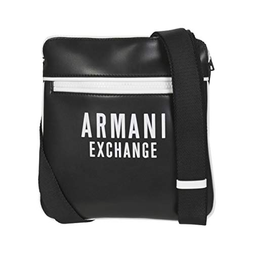 Armani Exchange A|X Herren Bold Logo Eco Leather Flat Cross Body Bag Bauchtasche, Nero/Bianco - Schwarz/Weiß, Einheitsgröße