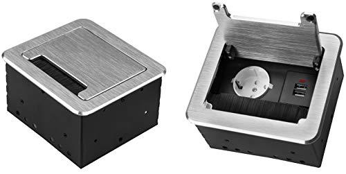 M1359 - Einbausteckdose mit USB in verschiedenen Größen und Farben (1er / 2x USB/silber)