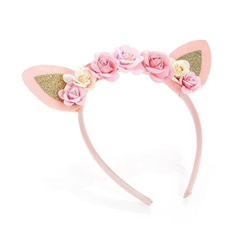 Filles Rose et paillettes dorées en forme de fleur et oreilles Motif Bandeau/Aliceband