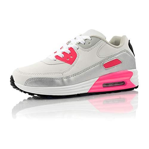 Fusskleidung® Damen Herren Sportschuhe Dämpfung Sneaker leichte Laufschuhe Weiß Silber Pink EU 42