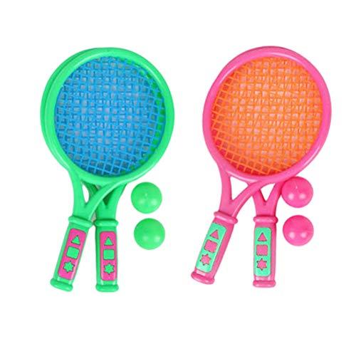 Softball-Tennis Junior, Beachtennis Set mit 4 Schläger, 4 Soft-Tennisball, Family Softball Tennis Set für Kinder