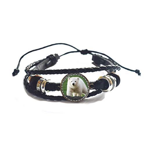 Brazalete de oso tribal con guía del espíritu del oso polar, amuleto del oso de peluche, brazalete de oso de lobo blanco