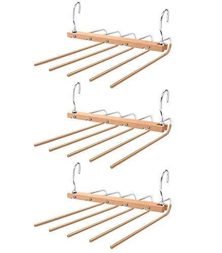 Baboies Hosen-Kleiderbügel, rutschfest, 3 Stück, 5-in-1, multifunktional, aus Holz, platzsparend, verstellbare Kleiderbügel, aus Edelstahl, robust, platzsparend.