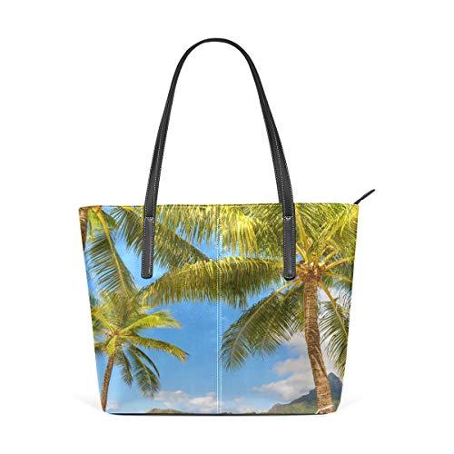 NaiiaN Bolso de compras Bolso de mano con correa de cuero ligero Playa tropical Palmera Hamaca Faro para mujeres Niñas Damas Bolsos de estudiante Bolsos de hombro