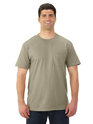 Fruit of the Loom Mens 5 oz. Heavy Cotton HD Pocket T-Shirt (3931P) -Khaki -M