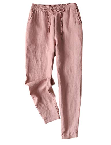 Gihuo Women's Elastic Waist Drawstring Solid Linen Pants Tapered Trousers with Pockets (Pink01, X-Large)