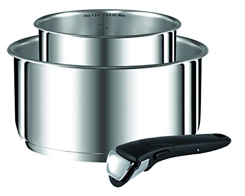 Tefal Ingenio Preference Inox Lot Casseroles 16/20 cm (1,5/3 L) Induction + Poignée Amovible Induction L9408802