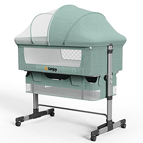 Uenjoy Baby Bassinet, Bedside Sleeper,Foldable Baby Bed to Bed, Adjustable Portable Bed for Infant/Baby/Newborn,with Mosquito Nets, Large Storage Bag, Comfortable Mattresses, Lockable Wheels,Green